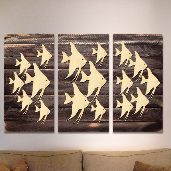 3 Piece Vintage Fishes Wooden Wall Decor Set