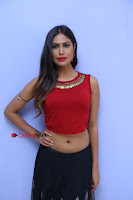 Telugu Actress Nishi Ganda Stills in Red Blouse and Black Skirt at Tik Tak Telugu Movie Audio Launch .COM 0106.JPG