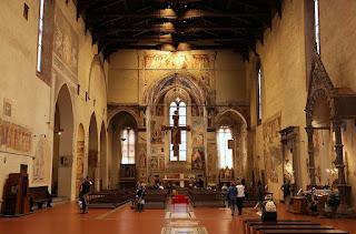 The interior of the 13th century Basilica di San Francesco in Piazza San Francesco in the heart of Arezzo