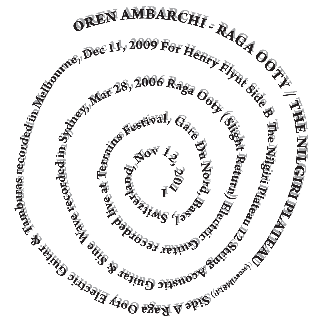 oren ambarchi raga ooty nilgiri plateau bo weavil recordings 2012  [ 1300 x 1298 Pixel ]