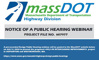 pre-recorded webinar to present the design for the proposed Mass Pike-Interstate-495 interchange project