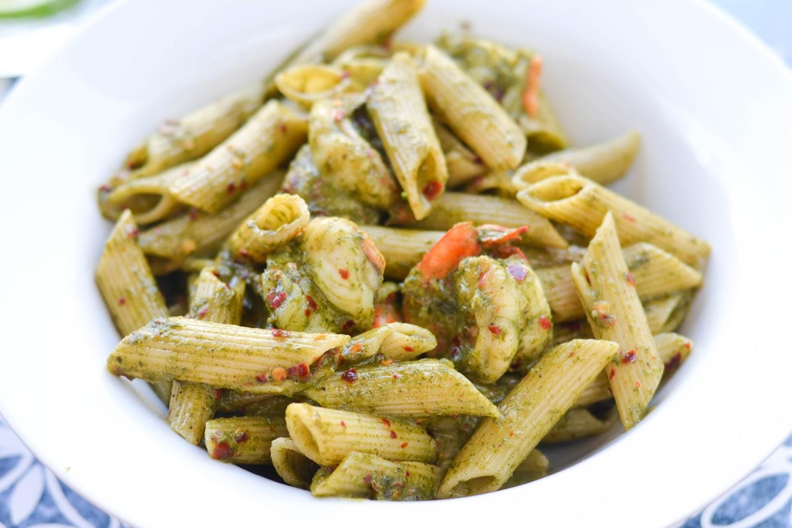 Penne Pesto Pasta with prawns