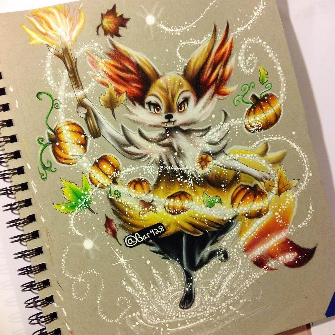 09-Braixen-Estefani-Barbosa-Fantasy-Animals-in-Pencil-Drawings-www-designstack-co