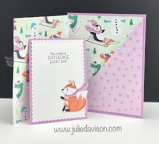 Stampin' Up! Sale-a-Bration Penguin Playmates Pocket Card + Video Tutorial ~ www.juliedavison.com ~ #stampinup #saleabration #juliedavison
