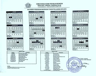 Kalender Pendidikan Kemenag (Madrasah) Tahun Ajaran 2018/2019