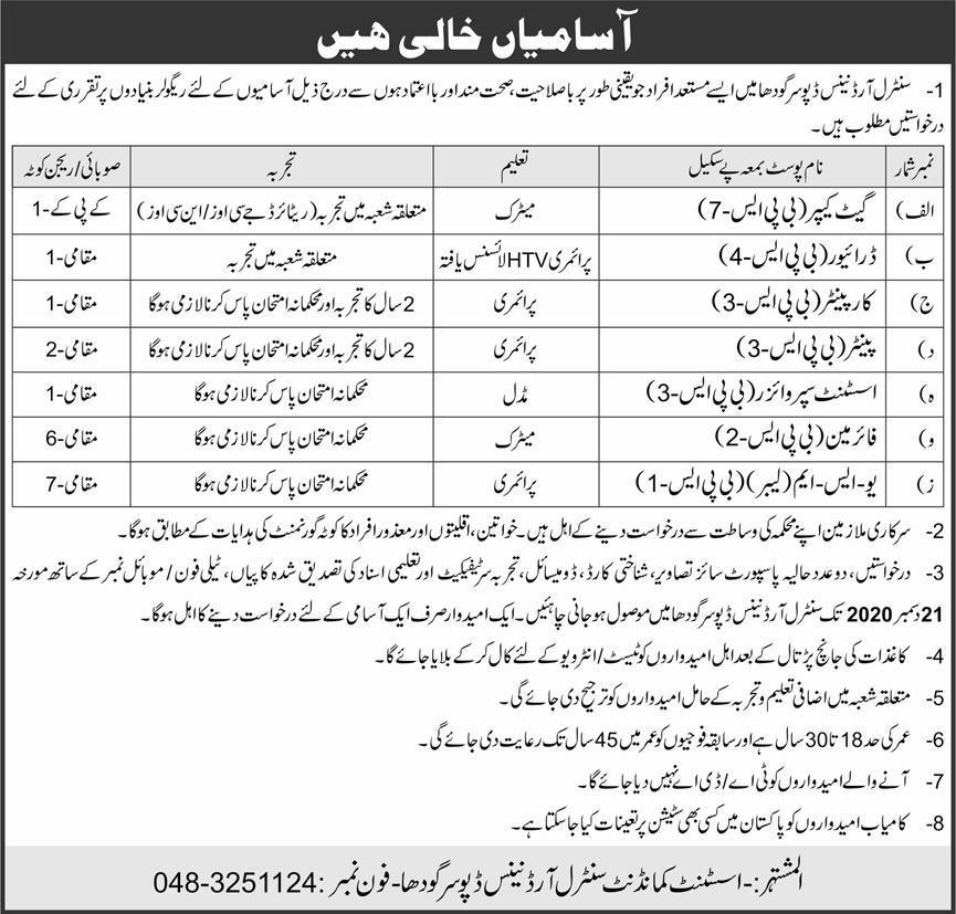 Pak Army Central Ordnance Depot COD Sargodha Jobs 2020