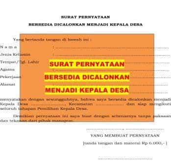 Surat Pernyataan Bersedia Dicalonkan Menjadi Kepala Desa Format Administrasi Desa