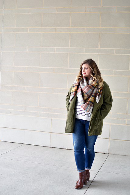shein green drape jacket army military jacket zara plaid blanket scarf jcrew toothpick skinny jeans madewell brown leather booties fall outfit inspiration ootd bp stripe shirt nordstrom3