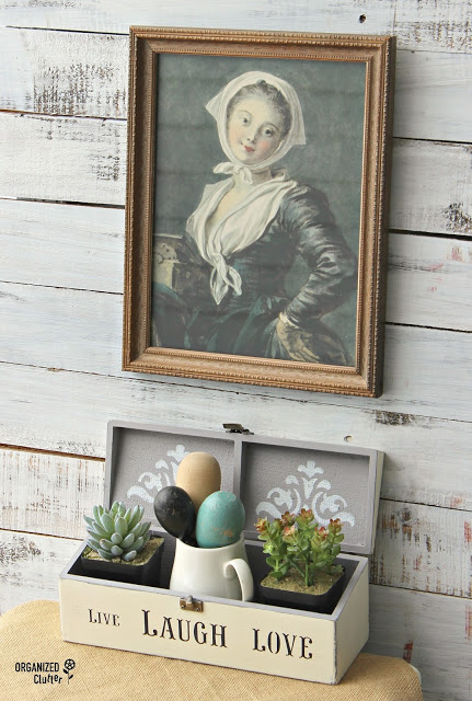 Photo of a wooden box upcycled as a decor display piece