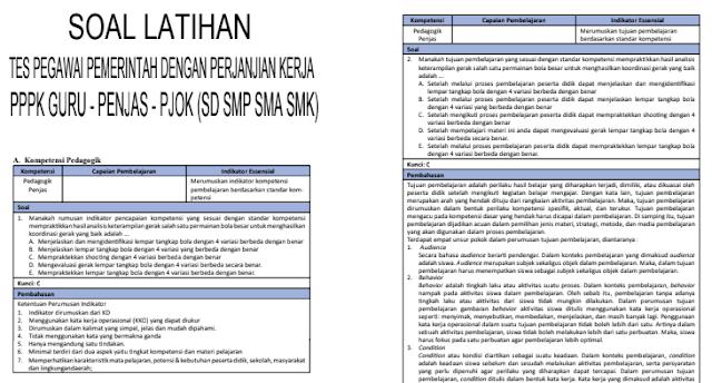 Soal Tes Latihan Seleksi Guru PPPK Materi Penjaskes Untuk SD