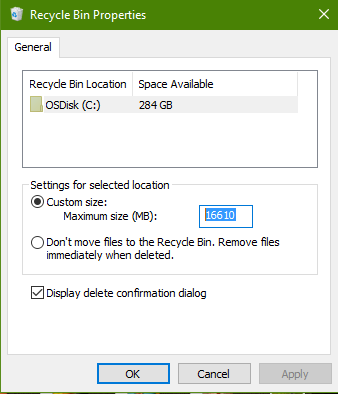 Increase Recycle Bin Size