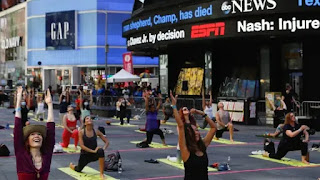 The seventh International Yoga Day was celebrated at the iconic Times Square