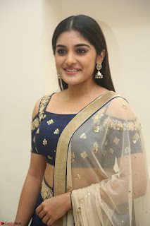 Niveda Thomas in Lovely Blue Cold Shoulder Ghagra Choli Transparent Chunni ~ Exclusive Celebrities Galleries 010