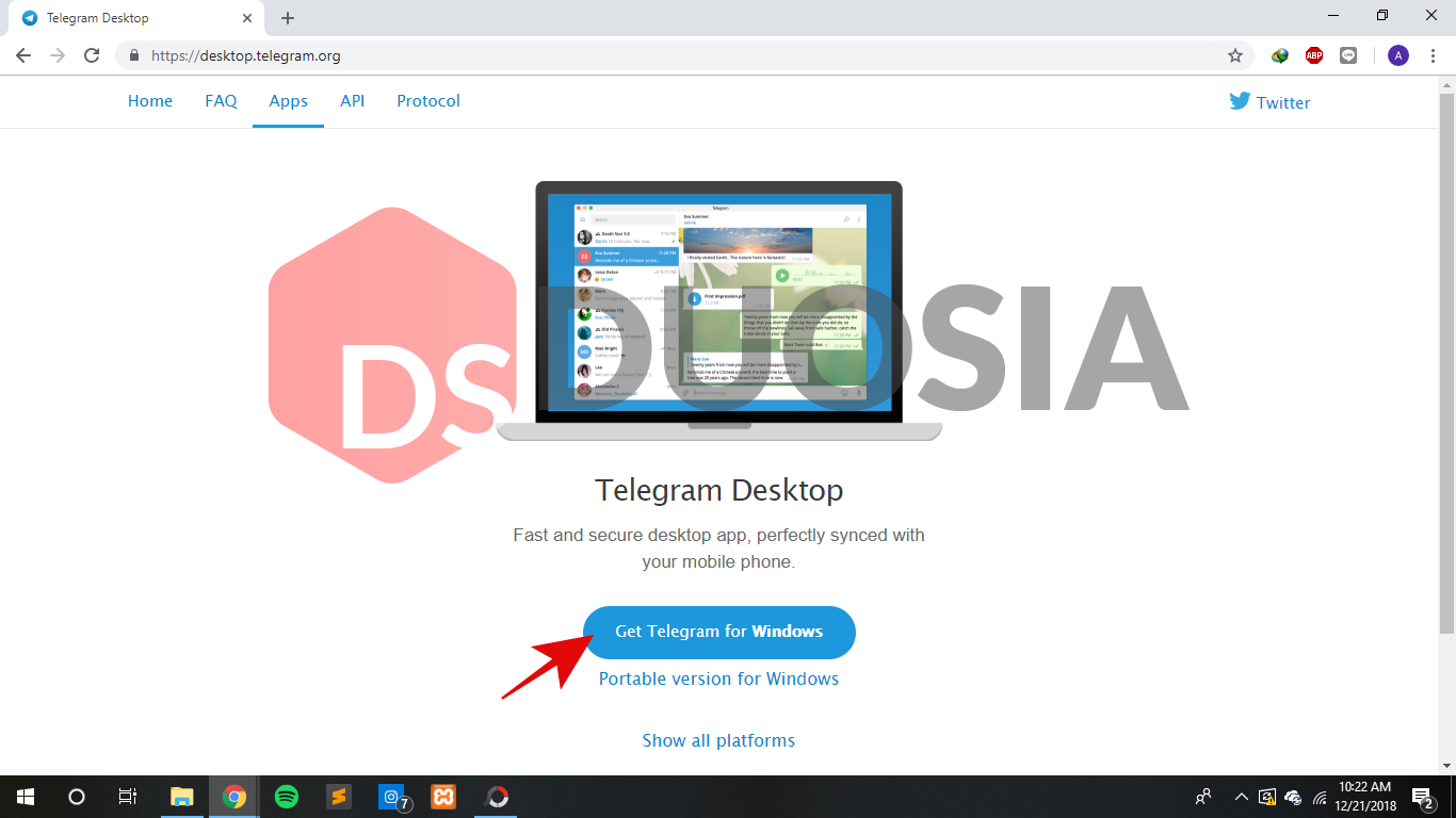 cara mendownload telegram versi web