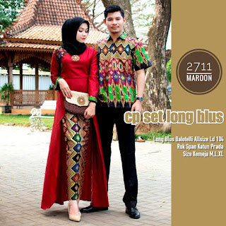 BAJU BATIK COUPLE MODEL SETELAN ROK KATUN PRADA DAN LONG BLUS BALOTELLY TERBARU T2711