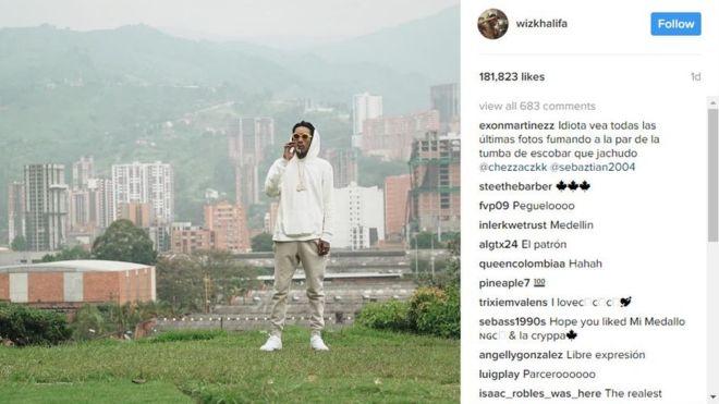 US rapper Wiz Khalifa in Colombia drug lord row