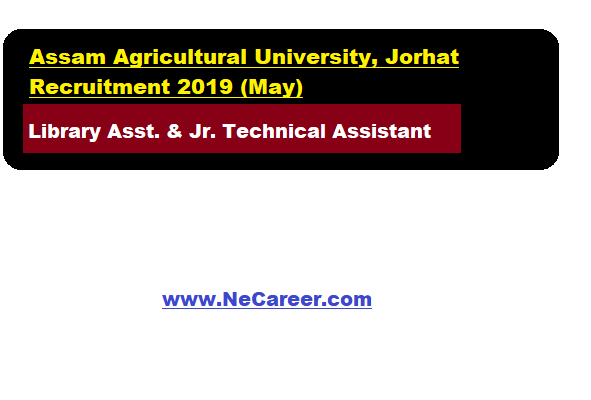 Assam Agricultural University, Jorhat Recruitment 2019 (May)
