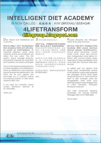 foto Intelligent Diet Academy (IDA) Kini Dikenali Sebagai 4LifeTransform