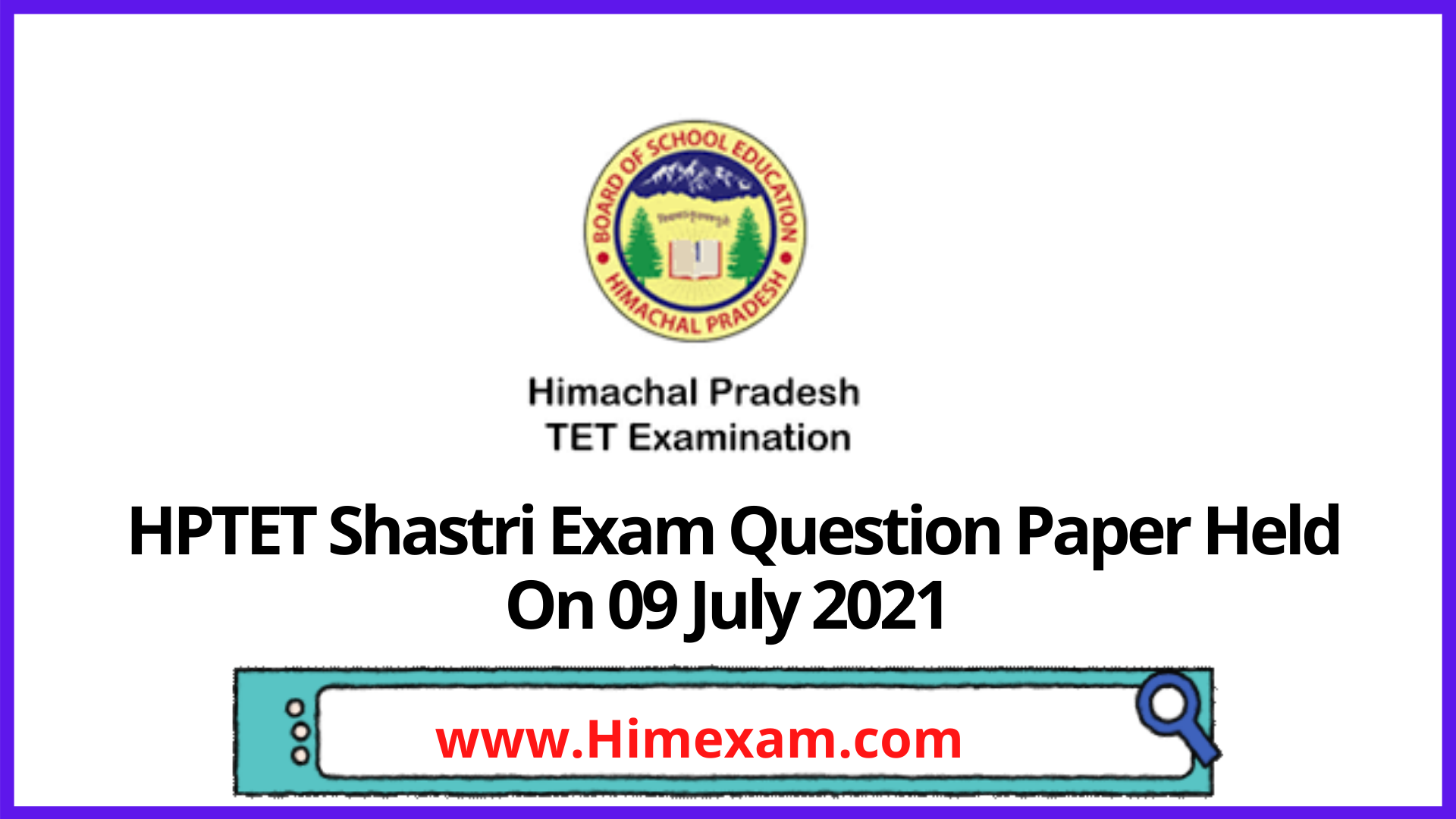 HPTET Shastri Exam Question Paper Held On 09 July 2021