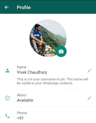 Open About in WhatsApp profile