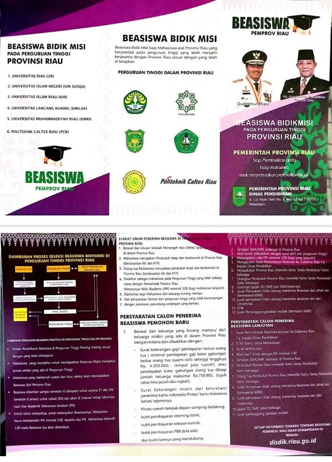 Beasiswa Bidik Misi Pemerintah Provinsi Riau