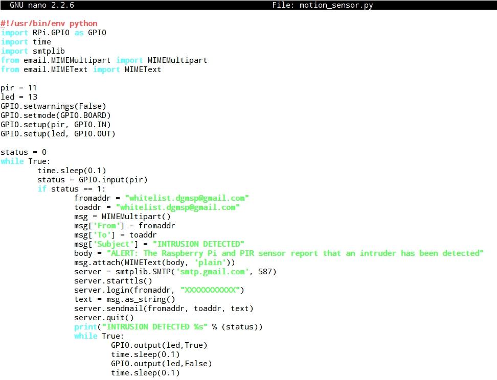 Whitelist: 8 - Raspberry Pi and PIR (Passive Infrared): motion