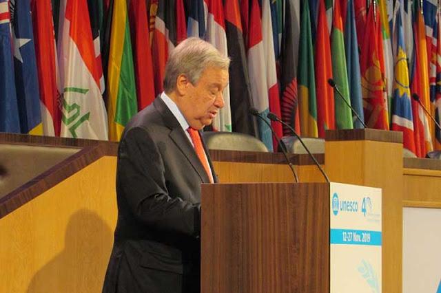 Antonio Guterres apela en Unesco al multilateralismo ante desafíos