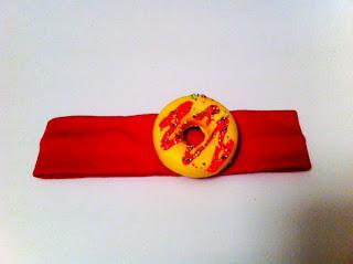 Bebek Saç Bandı, Kırmızı Soslu, Sarı Donut