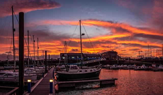 Photo of sunrise over Maryport Marina yesterday (Thursday) morning
