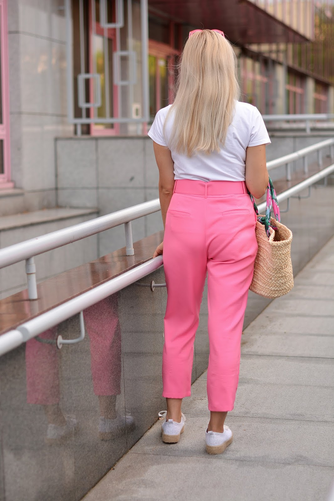 Hot Pink Belted Tapered Pants