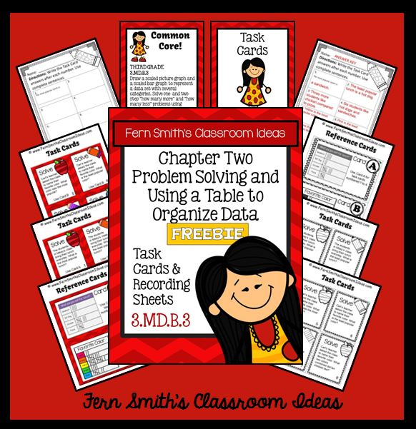 Fern's Freebie Friday ~ FREE Problem Solving with Tables to Organize Data Task Cards and Answer Sheet Freebie For Your Classroom