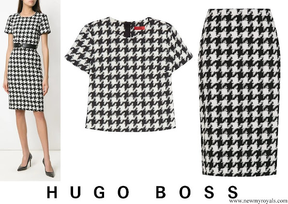 Queen Letizia wore HUGO BOSS Clady Houndstooth Top and Riami Houndstooth Pencil Skirt