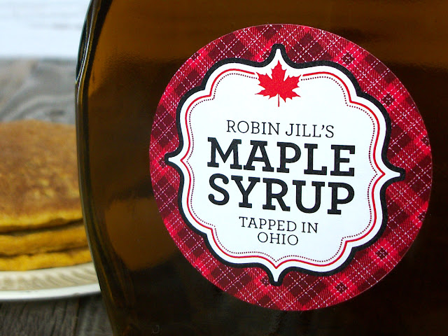 Custom Plaid Maple Syrup Labels