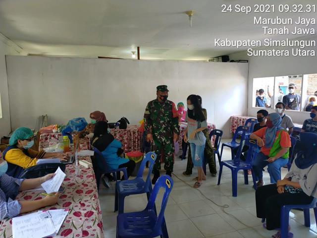 Pendampingan Pelaksanaan Vaksinasi Diwilayah Binaan Dilakukan Personel Jajaran Kodim 0207/Simalungun