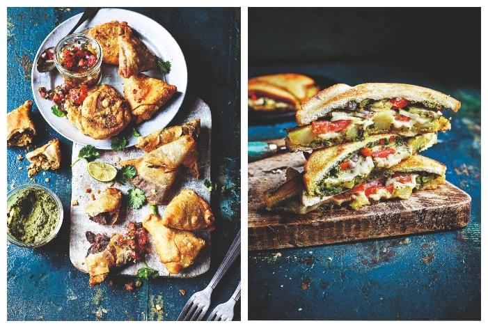 Samosas and mumbai toastie from The Curry Guy Veggie