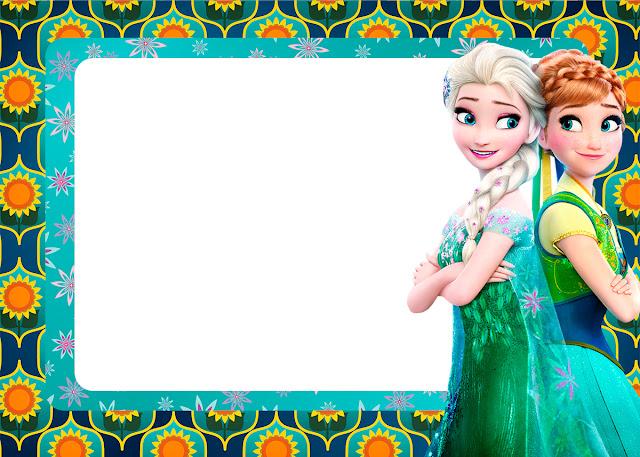 Para hacer invitaciones, tarjetas, marcos de fotos o etiquetas, para imprimir gratis de Frozen Fiebre Congelada.