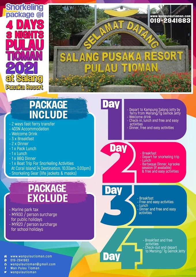 Pakej Percutian 4 Hari 3 Malam Ke Pulau Tioman 2021 - Salang Pusaka Resort Snorkeling Sehari ~ Pulau Tioman