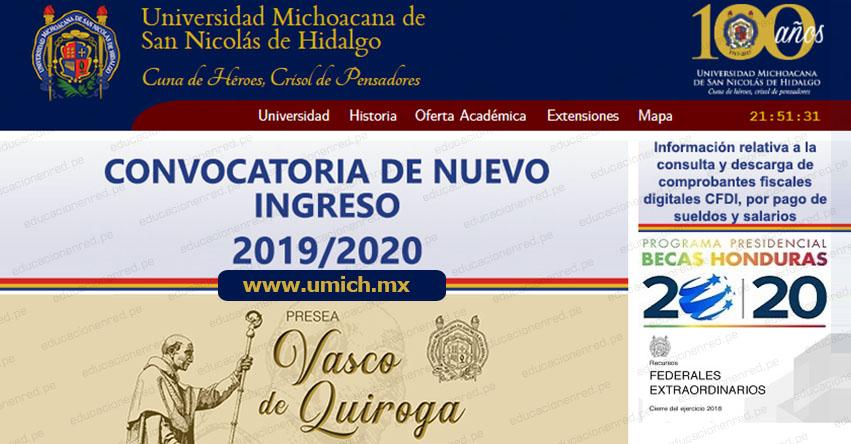 CONVOCATORIA UMSNH 2019: Proceso de selección para ingresar a la Universidad Michoacana de San Nicolás de Hidalgo de México [CRONOGRAMA] www.umich.mx