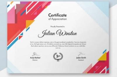 desain sertifikat modern