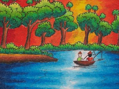 Gambar pemandangan sungai dengan crayon