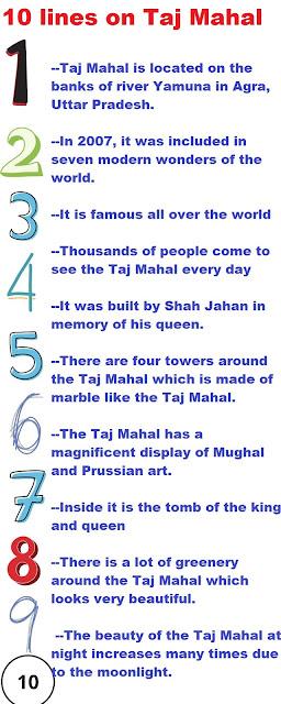 short 10 lines essay on 10 taj mahal in english