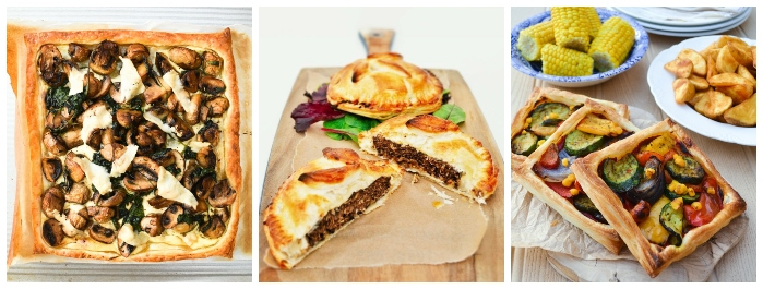 puff pastry recipes - garlic mushroom & spinach puff pastry tart, veggie burger pies and easy mediterranean tarts