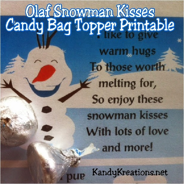 Get your warm hugs and snowman kisses from your favorite Snowman.  Olaf will brighten your day with this free candy topper printable available only for the month of January.  Add some yummy Hershey kisses candies and this bag topper and you have a fun treat to warm your cold winter day.