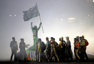 Kyle Busch and his team celebrate his first Sprint Cup title.
