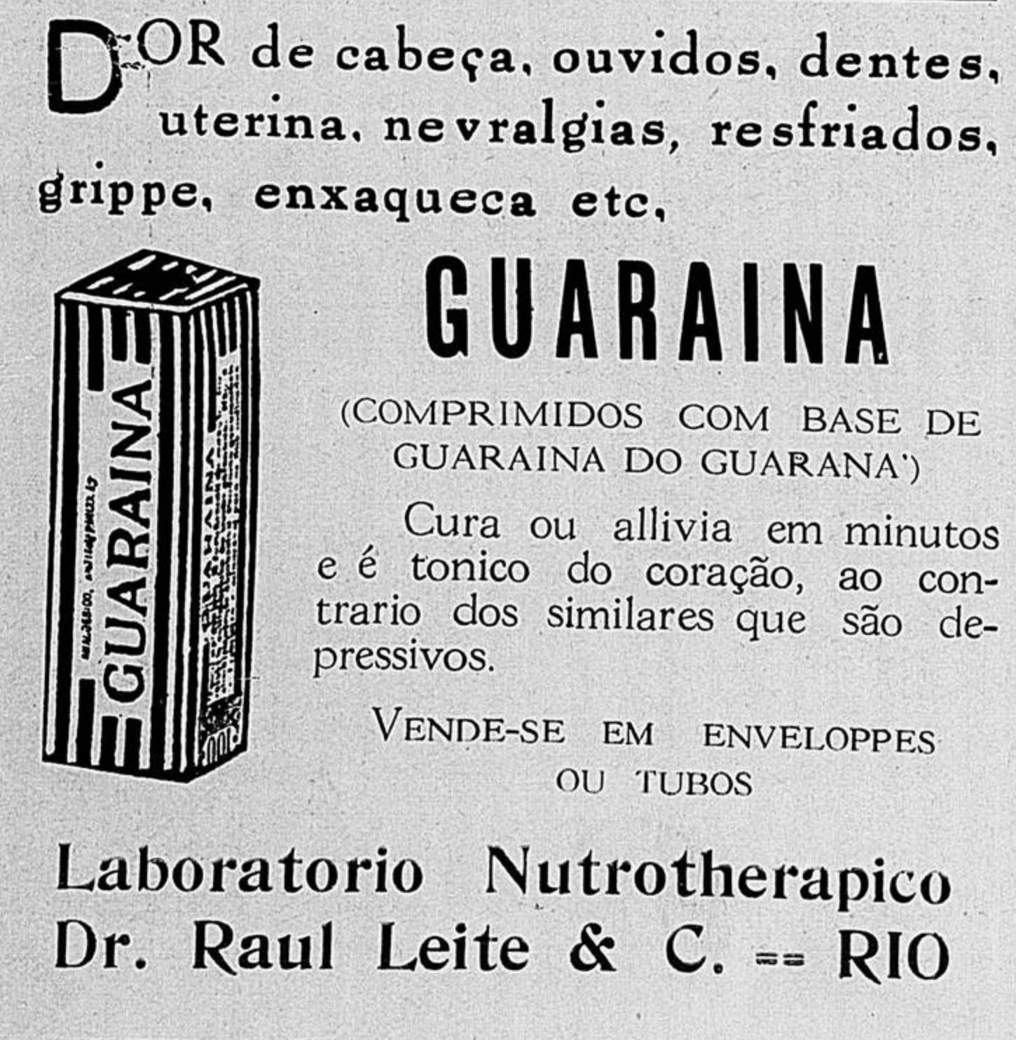 Anúncio antigo de 1927 do analgésico guaraína