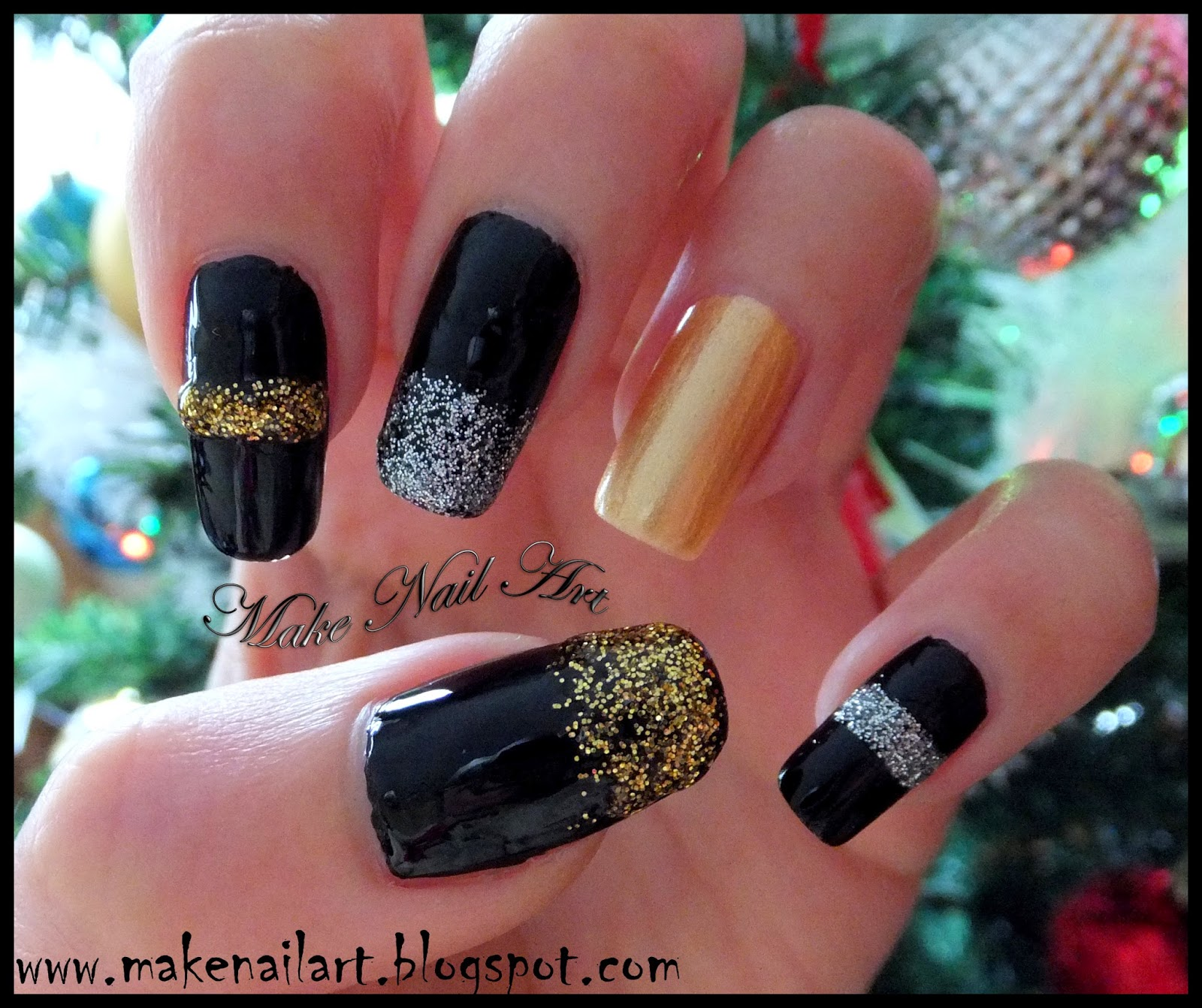 New Years Eve 2015 Nail Art Tutorial Easy