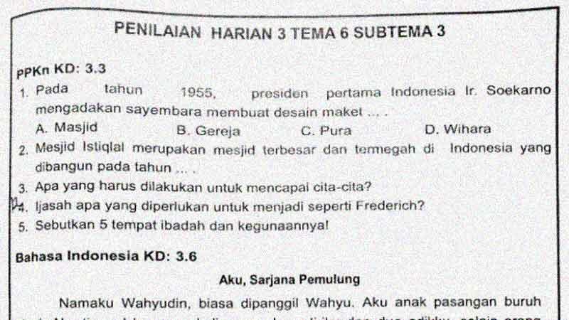 Soal Penilaian Harian Kelas 4 Tema 6 Subtema 3