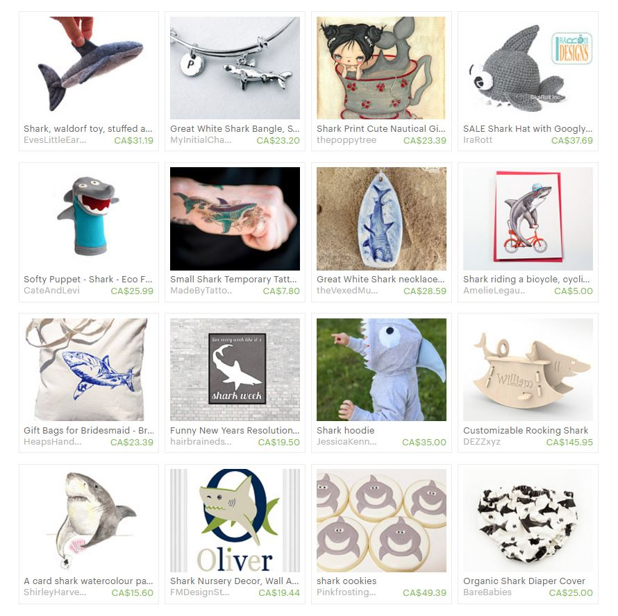 An Etsy Treasury of kid-friendly Shark items. Made in Canada. via www.creativeclementine.com