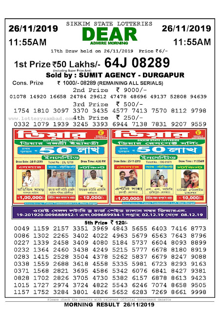 Lottery Sambad 26-11-2019 Sikkim Lottery Result 11.55 AM-sambadlottery.org