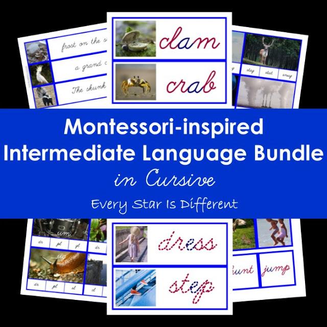 Cursive Montessori-inspired Intermediate Language Bundle (Blue Series/Consonant Blends)
